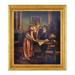 ROMANTIC READINGS - Italian figurative oil on canvas painting by Ciro de Rosa