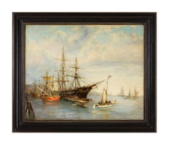 SEAPORT - Italian sailing boat oil on canvas painting by John Stevens
