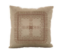 Silk-Satin Suede Beaded Pillow