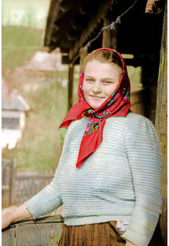 Young mother at home, Maramures, Romania, 1995