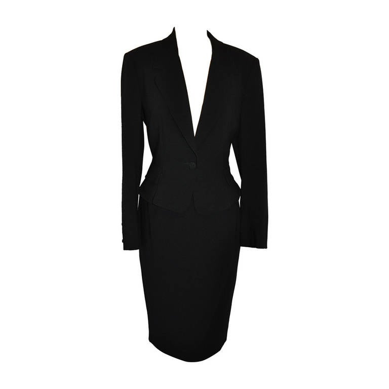 Guy Laroche 'Couture' Black Skirt Suit with Peplum Evening Jacket For Sale