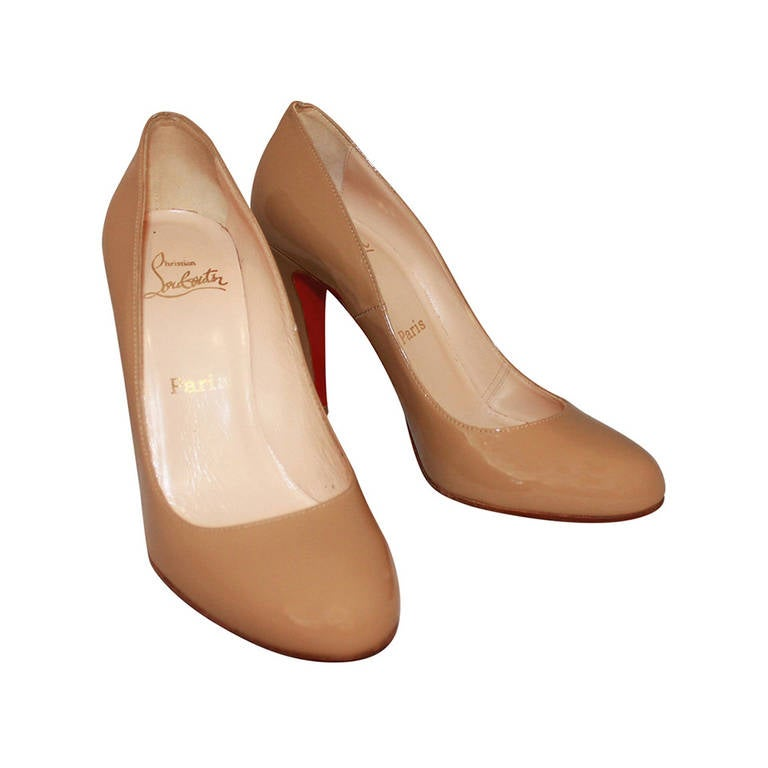 Christian Louboutin Tan Patent Pumps - 9 1