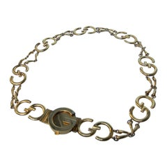 Gucci Sleek Gilt Metal Hinged Link Belt Made in Italy c 1970