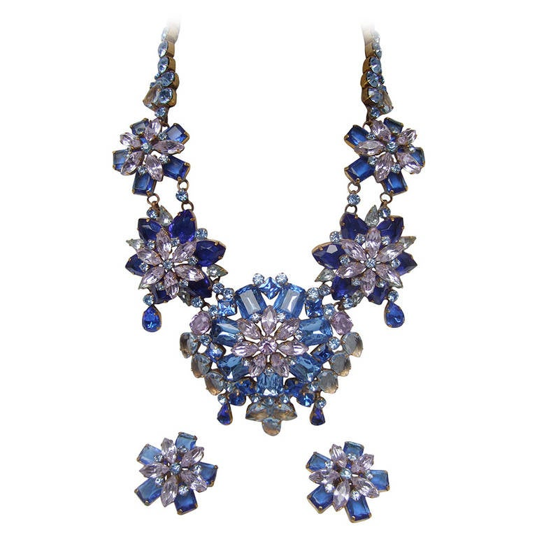 Spectacular Massive Crystal Necklace & Earring Set Designed by Lillien Czech 1
