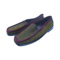 Tod's Exotic Olive Green & Burgundy Pony Fur Driving Shoes Size 37