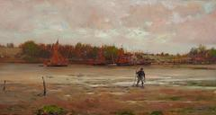 Estuary at Dawn, circa 1880-1890, Oil on Panel, American