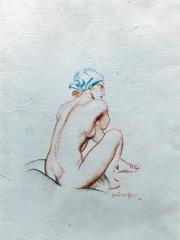 Stella, Colored Chalk on Paper, Signed and Inscribed, British