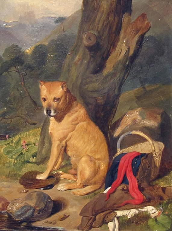 <i>Waiting for Master,</i> 19th century, by Sir Edwin Landseer and his studio, offered by Mark Murray Fine Paintings