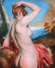 Female Nude with Red Drapery, Oil on Board, British
