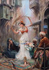 An Oriental Dancer, Oil on Canvas, Italian