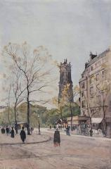La Tour St. Jacques from Avenue Victoria, Paris, Watercolor on Paper, French