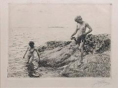 Seaward Skerries, Etching on Cream Paper, 1918, Swedish