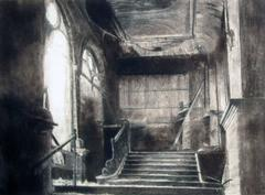 Abandoned Interior, Charcoal Conté on Paper, British