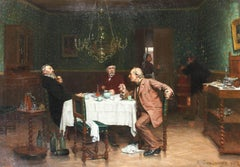 Chez un Ami, Oil on Canvas, Signed E. Dambourgez 1882, French