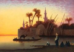 Along the Nile at Sunset, Oil on Panel, French
