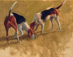 Two Fox Hounds, Oil on Canvas Laid Down on Panel, American