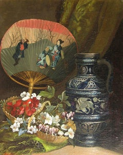 Still Life with Oriental Fan, Oil on Canvas, French