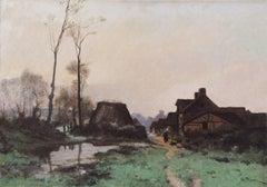 Fermière Auprès du Hameau, Oil on Canvas, French