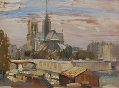Notre Dame from the Left Bank, Oil on Panel, British