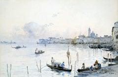 Venetian Gondoliers, Watercolor on Paper, Italian