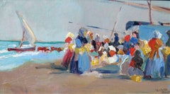 At the Beach, Oil on Canvas Laid Down on Board, Ernesto Valls Sanmartin, Spanish