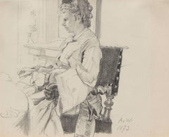 Portrait of the Artist's Wife, Malvina, Pencil on Paper, 1873, German