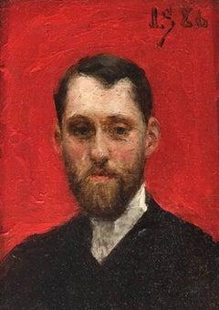 Self Portrait, Julius LeBlanc Stewart, Oil on Panel