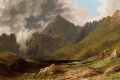 Mount Snowdon, Wales, Oil on Canvas, Russell Smith, American
