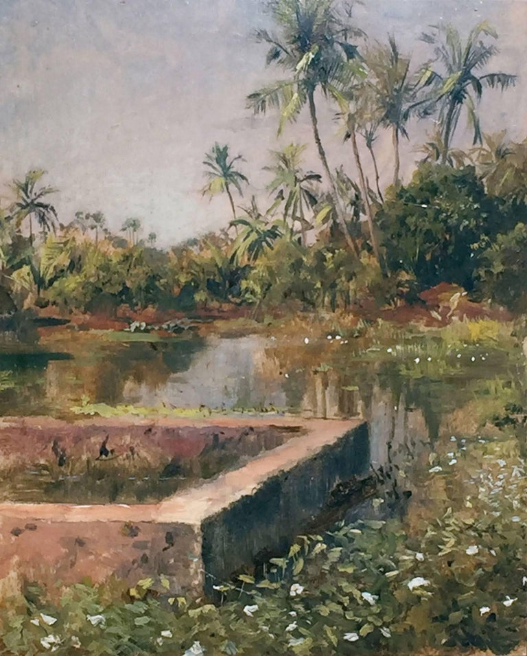 Edwin Lord Weeks Sacred Lake Bombay Oil On Board