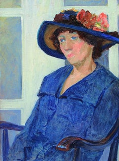A Lady in Blue, Oil on Canvas, Louise Eleanor Zaring, American
