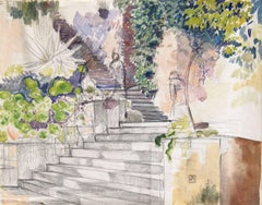 L'Escalier, Pencil and Watercolor on Paper, Théo van Rysselberghe, Belgian