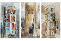 Three Somerset Towers, Watercolor and Gouache on Paper, John Piper, British