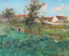 Landscape in Grez, Oil on Canvas, Willard LeRoy Metcalf, American, 1884