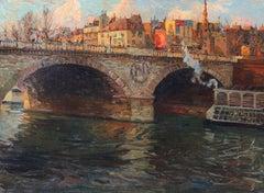 Pont Saint-Michel, Paris, Oil on Canvas, Richard Hayley Lever, American, 1904