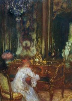 La Lettre, Oil on Cradled Panel, Gaston La Touche, French