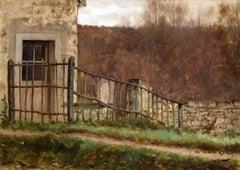 La clôture en bois au bord du chemin, Oil on Canvas, Louis Welden Hawkins