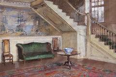 Entrance Hall, Moffatt-Ladd House, Gouache on Paper, Walter Gay, American, 1923