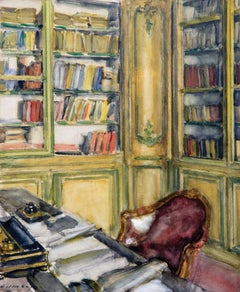 Library at Château du Bréau, Watercolor on Board, Walter Gay, American