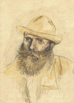 Portrait of Claude Monet - Carolus-Duran - Pencil and Watercolor on Paper