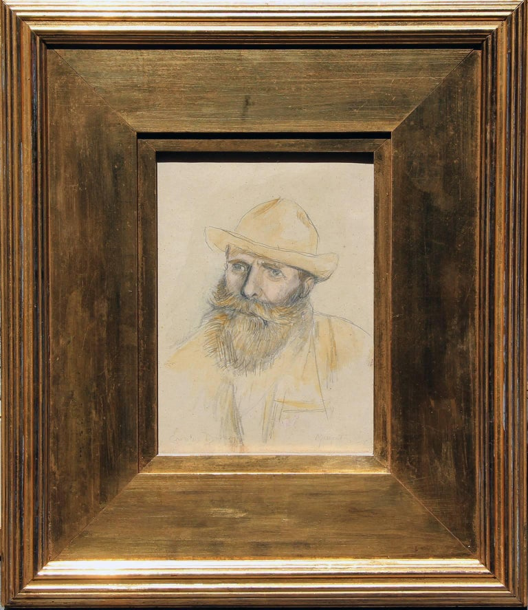 CHARLES EMILE AUGUSTE CAROLUS-DURAN French, 1838–1917  Portrait of Claude Monet  Signed Carolus Duran and inscribed Monet Pencil and watercolor on paper 8 x 5¾ inches (20.3 x 14.6 cm) Framed: 11¼ x 9 inches (28.5 x 23 cm)  Provenance Private
