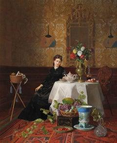 Taking Tea - David de Noter - Belgian - Oil on Canvas