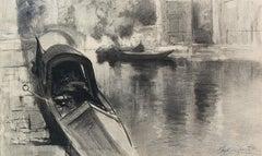 Gondolas in Venice - Francis Hopkinson Smith - American - Charcoal on Paper