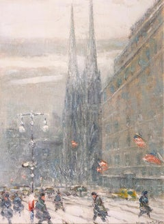 St. Patrick's Cathedral, New York  Johann Berthelsen  American  Oil on Board