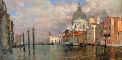 Dogana and Salute from the Prefetura, Venice, Oil on Canvas, 1886