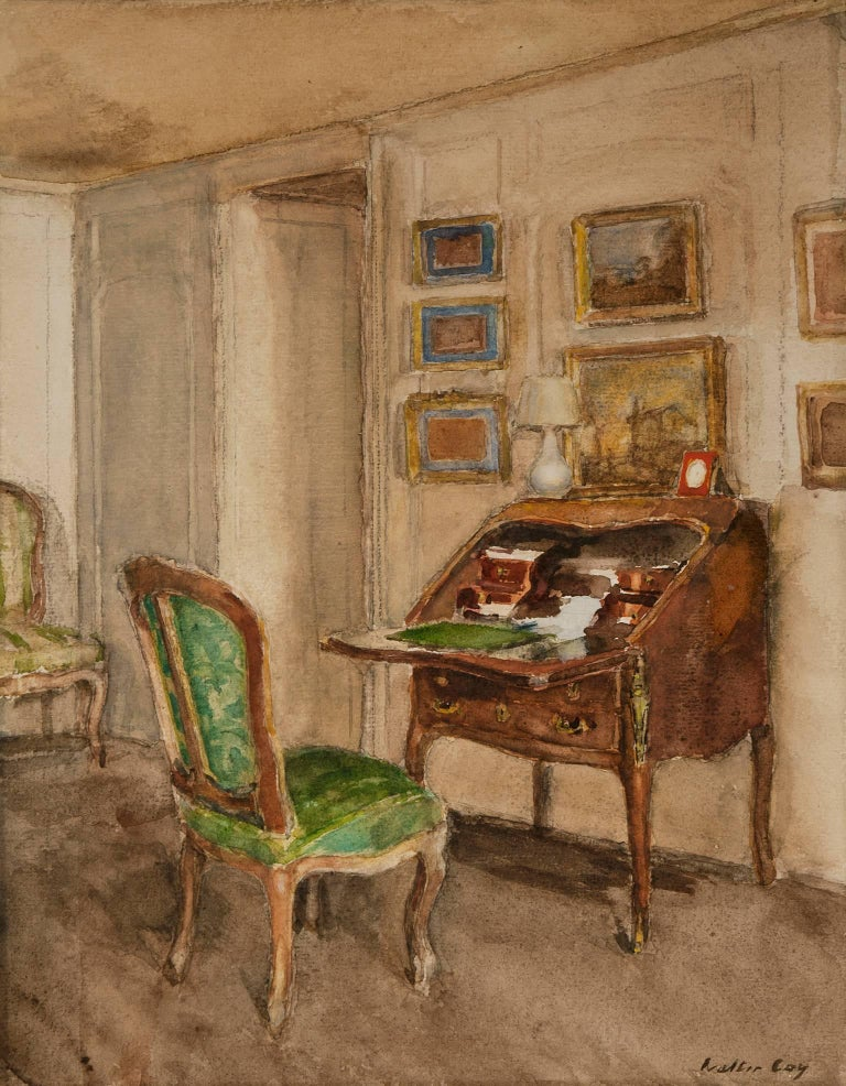 walter gay the boudoir ch teau du br au watercolor on paper walter gay american for sale. Black Bedroom Furniture Sets. Home Design Ideas