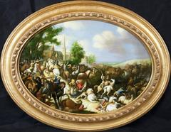 Remarkable Oval Italian Oil Painting of Battle Scene