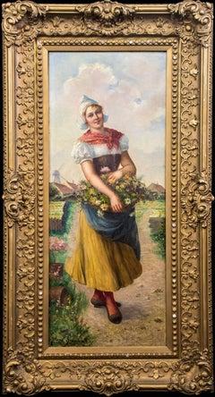Antique Original Oil Painting – Portrait of a Dutch Girl