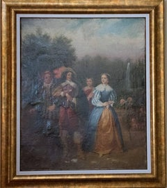 """18th Century Rococo French Oil Painting Entitled """"Couples in the Garden"""""""