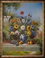 Original Floral Still Life Oil Painting Set in the Outdoors
