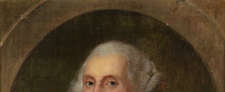 """Manuel de Franca (Portugese/American, 1808-1865) oil on linen portrait of George Washington, after Gilbert Stuart. Washington is depicted wearing a dark coat and ruffled white shirt, and painted within an oval with the Latin words """"Patriae"""